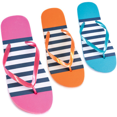 Ladies Striped Print Flip Flops