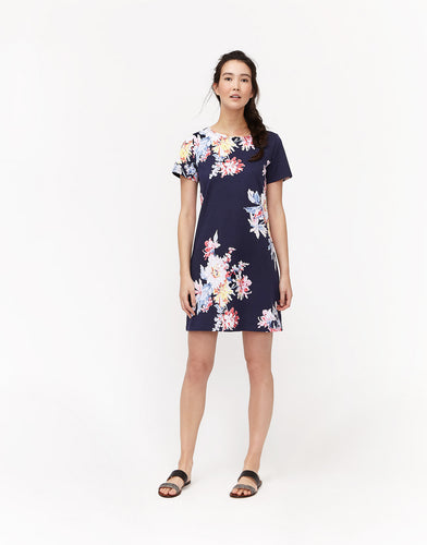 Joules Riviera Boarder Print Dress - French Navy Blossom
