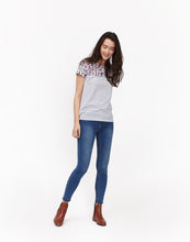 Joules Suzy Woven/Mix T-Shirt - Cream Ditsy Stripe