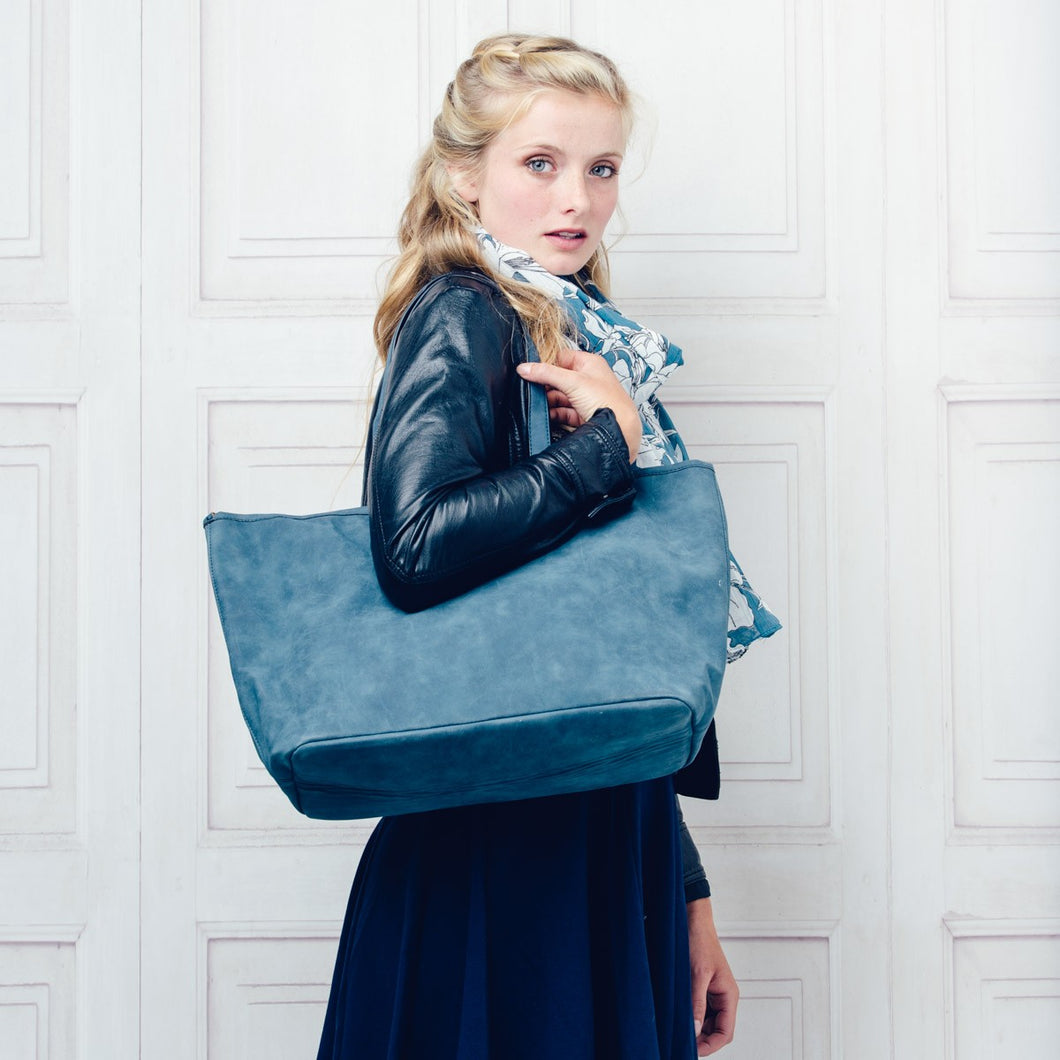 Large Blue Belmont Bag with detachable inner bag