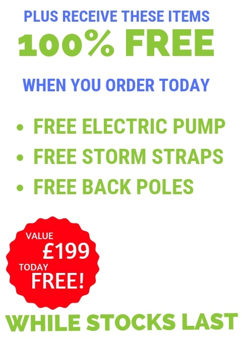 Bradcot free electric pump free storm straps and free back leg poles with Modul-Air V2