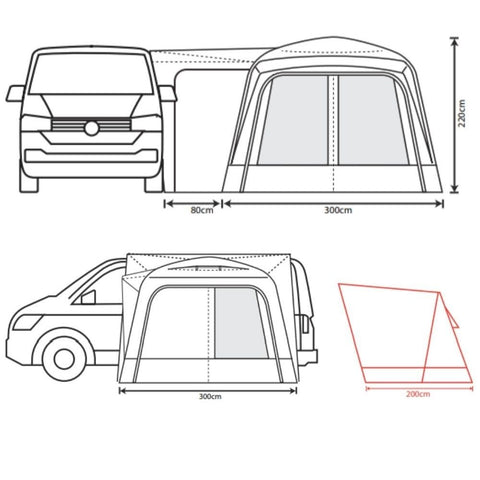 Outdoor Revolution Cayman Air (Low/Mid/High) Inflatable Drive-Away Awning + Free Footprint (2021)