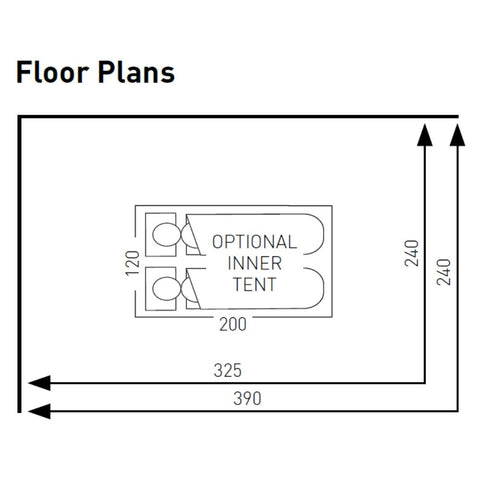 Floorplan for Sunncamp Swift Air Extreme 325 Caravan Awning SF2002 + Free Air Storm Bars