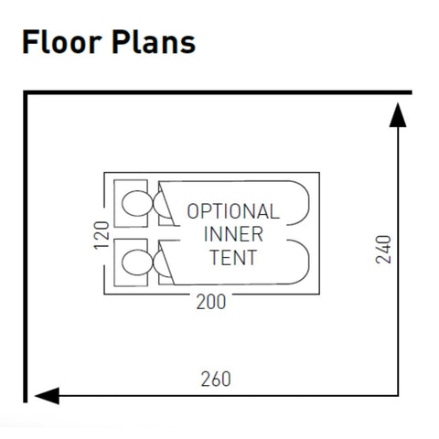 Floor Plan for Sunncamp Swift Verao Air Van 260 Low Non-Driveaway Motorhome Awning SF2025 + Free Stormstraps