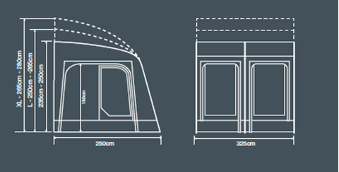 E-Sport Air 325 Caravan Awning Floor Plan - Quality Caravan Awnings