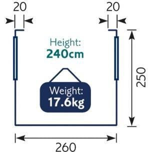 Royal Wessex Air Awning 260 - Blue + Free Storm Straps - Quality Caravan Awnings