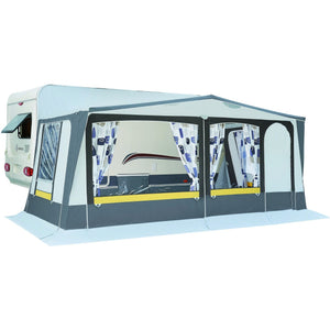 Exterior view of Trigano Adriatic Full Caravan Awning with door to the right