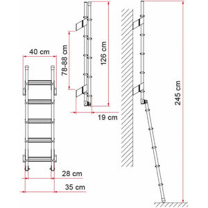 Fiamma Deluxe 5D Folding Motorhome Ladder made by Fiamma. A Ladders sold by Quality Caravan Awnings