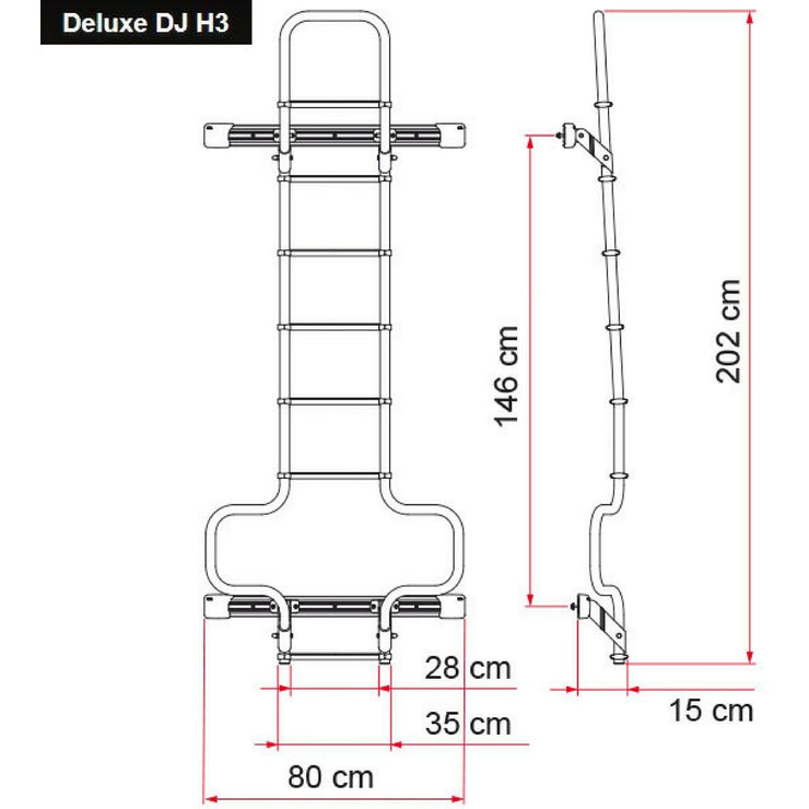 Fiamma Deluxe DJ Van Ladder made by Fiamma. A Ladders sold by Quality Caravan Awnings