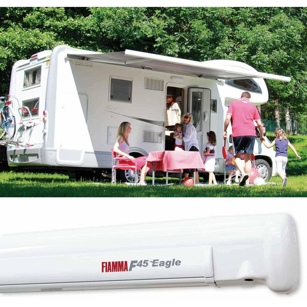 Fiamma F45 Eagle Polar White Automatic Motorhome Awning made by Fiamma. A Motorhome Awnings sold by Quality Caravan Awnings