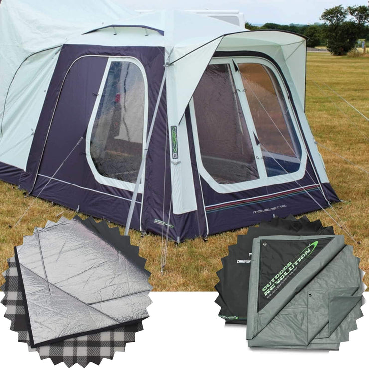 Outdoor Revolution Movelite T1 Tail Low-Midline & Carpet & Groundsheet Bundle (2019) made by Outdoor Revolution. A Drive-away Awning sold by Quality Caravan Awnings