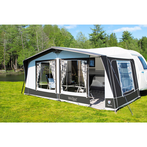 WALKER SIGNUM 250 + Curtains + Alloy Frame for Trigano Silver + FREE Storm Straps made by Walker. A Caravan Awning sold by Quality Caravan Awnings
