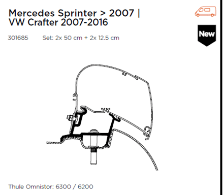 Thule Omnistor Mercedes Sprinter | Vw Crafter Awning Adapter 301685