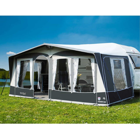 Image of WALKER Fusion 240 + Curtains + Alloy Frame for Trigano Silver (2018) + Free Storm Straps - Quality Caravan Awnings
