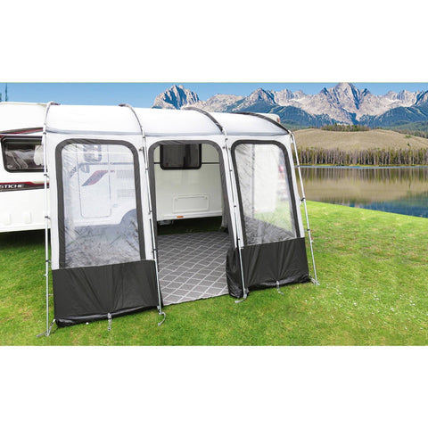 Climate Zone 300 Lightweight Grey and Green Awning with sturdy poles with adjustable door position and window blind positions