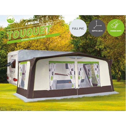 Trigano Touquet 250 (Steel/Fiberglass) Awning + FREE Storm Straps 2018 - Quality Caravan Awnings