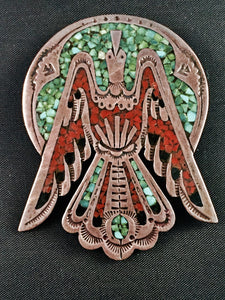 Peyote Bird Chip Inlay Pin/Pendant Attributed to Tommy Singer and His Family