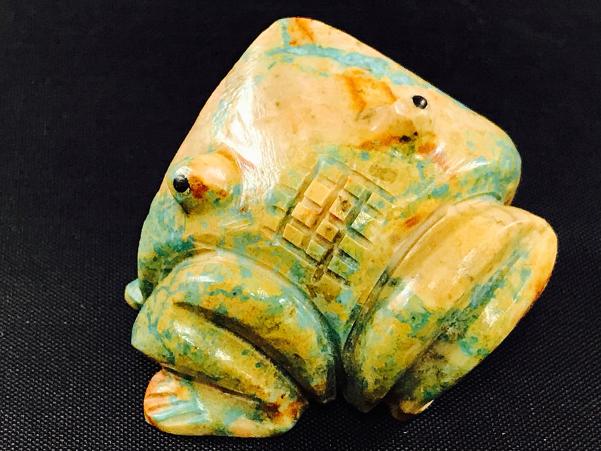Albert Livingston/Navajo Animal Fetish Frog Carved from Turquoise