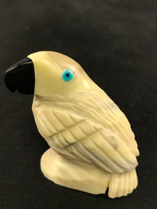 Zuni Animal Fetish Parrot Carved from Serpentine, Turquoise, Ebony by Edison Bobelu