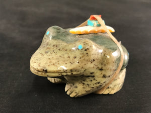 Zuni Animal Frog Fetish Carved from Green Serpentine by Dinah Gaspar