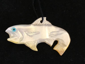 Zuni Animal Fetish Fish Pendant Carved from Mother of Pearl by Edison Bobelu