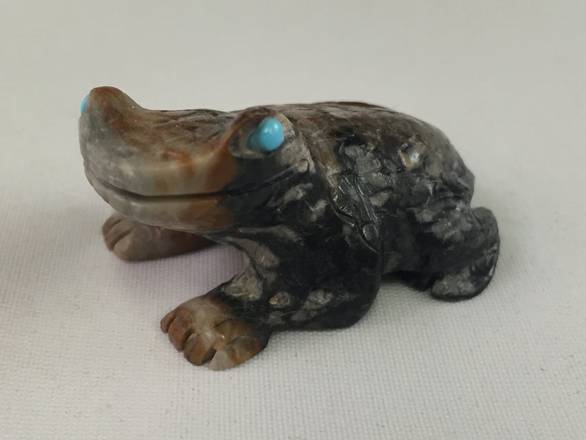Zuni Animal Fetish Frog Carved from Picasso Marble by Dane Malani