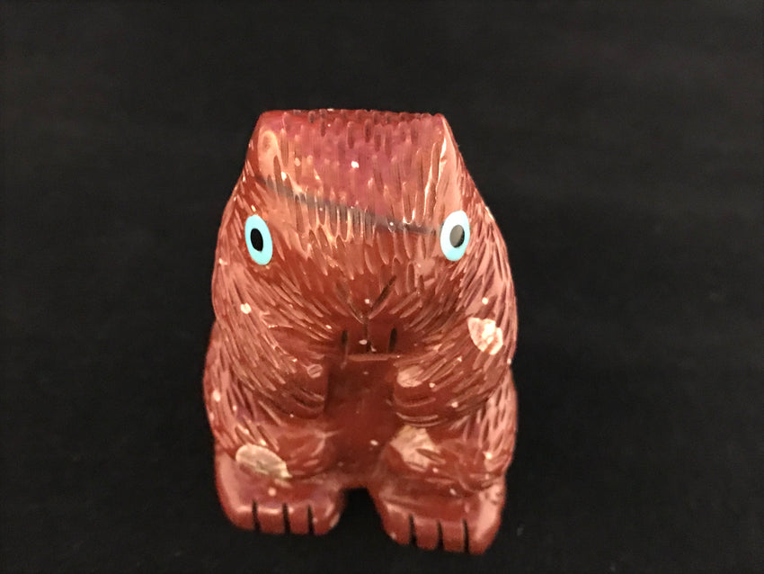 Zuni Animal Fetish Beaver Carved from Pipestone by Taylor Gia
