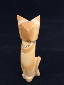 Zuni Animal Fetish Cat Carved from Sandstone by Kenny Chavez