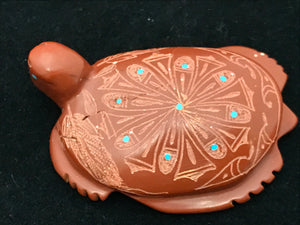 Zuni Animal Fetish Turtle Carved from Pipestone by Adrian Cachini