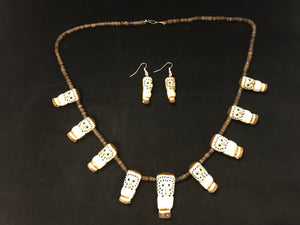 Zuni Animal Fetish Owl Necklace and Earrings Carved from Antelope Horn by Howard Lesarlley
