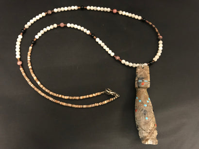 Zuni Corn Maiden Necklace Carved from Zuni Rock by Carl Estate