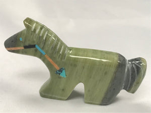 Zuni Animal Fetish Horse Carved from Serpentine by Everett Pino Jr.