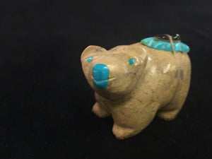 Zuni Animal Fetish Bear Carved from Travertine by Enrique Leekya