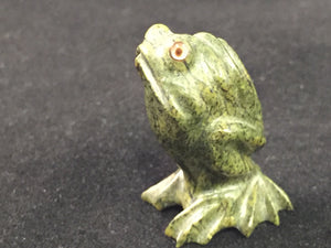 Zuni Animal Frog Fetish Carved from Serpentine by Ricky Lahaaty