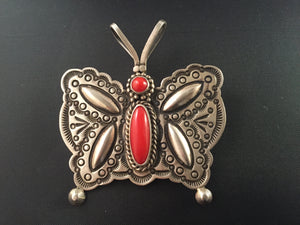 Sterling Silver and Coral Butterfly Pin Pendant by Herman Smith