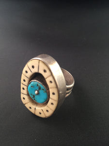Anthony Lovato Sterling, Fossilized Ivory, and Turquoise Ring