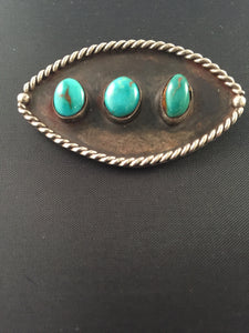 Vintage Navajo Sterling Silver Pin with Turquois Outlined with Sterling Roping