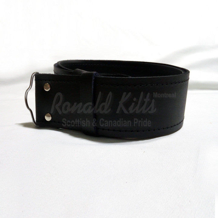 Black Leather Kilt Belt