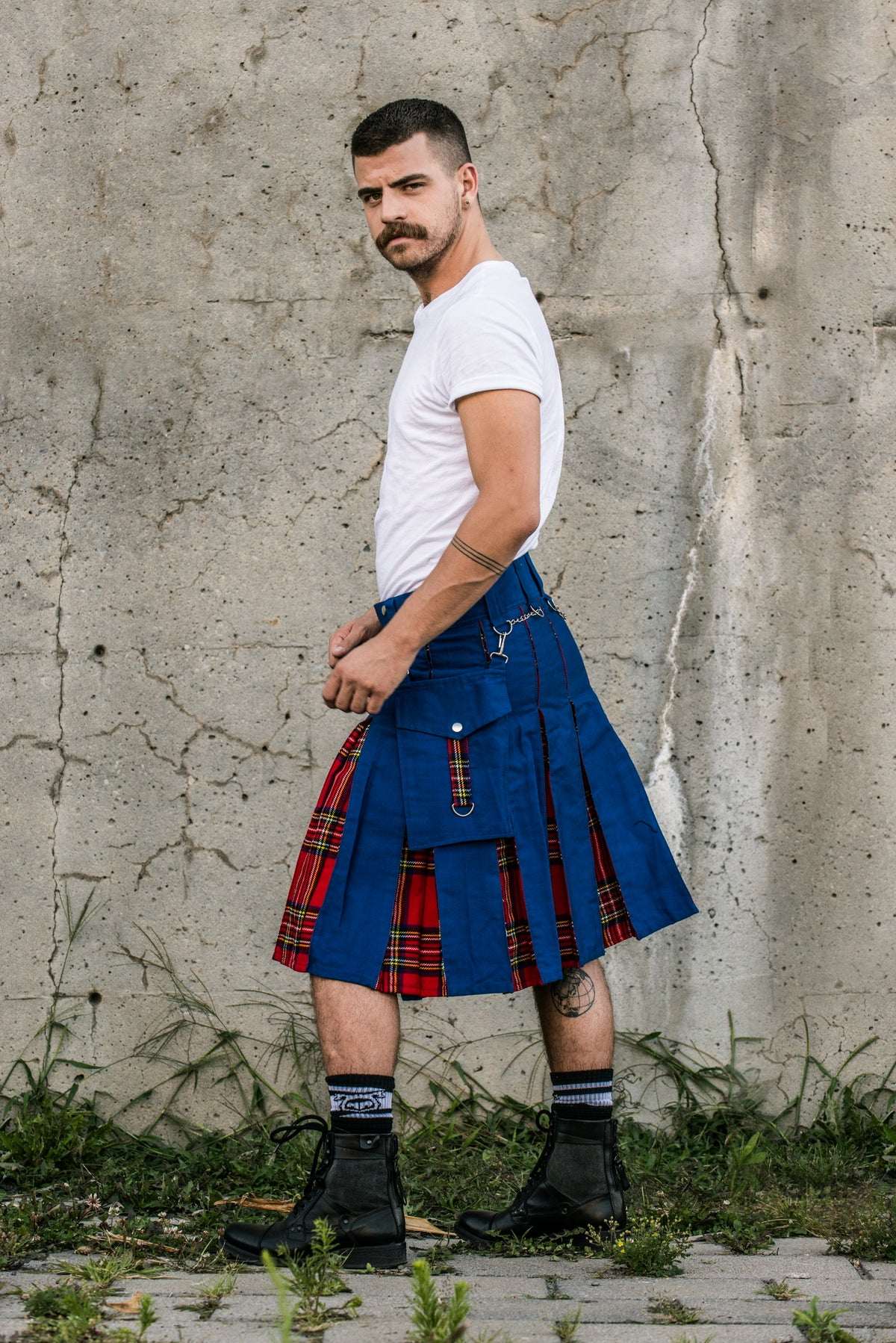 Blue with Royal Stewart Hybrid Kilt