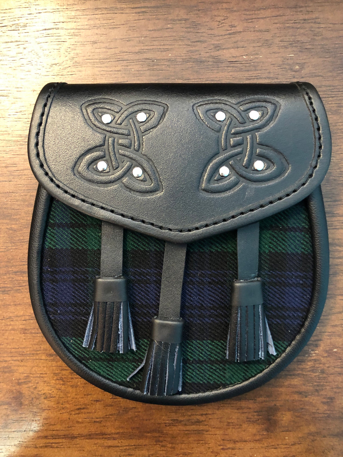Leather Celtic Style Sporran with matching Tartan (Various Tartans)