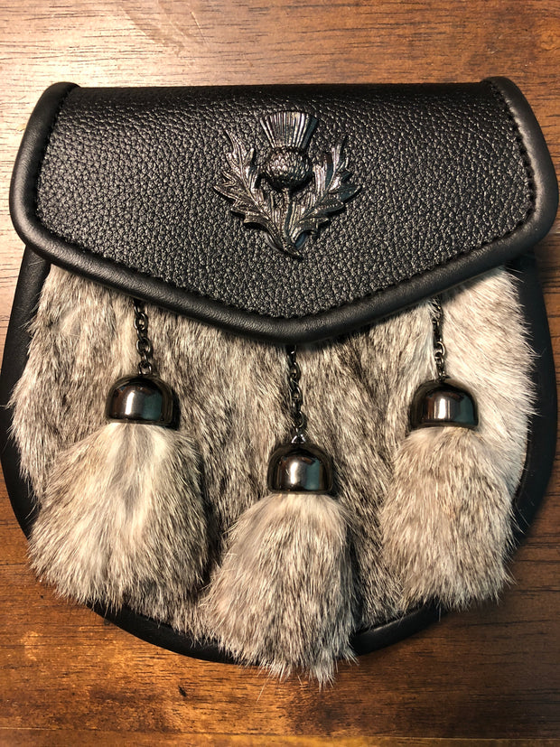 Leather and Grey Fur Sporran with Blk Metal Thistle