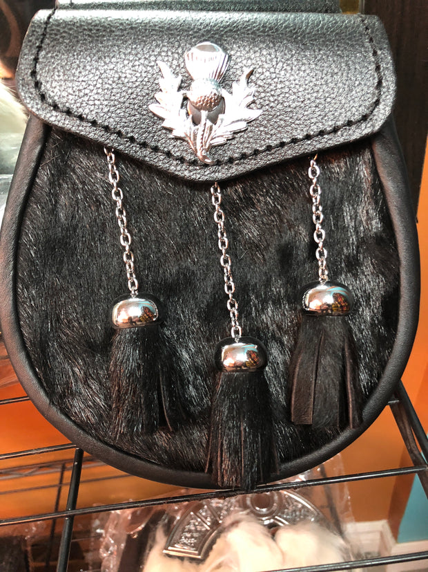 Leather and Rabbit Fur Sporran