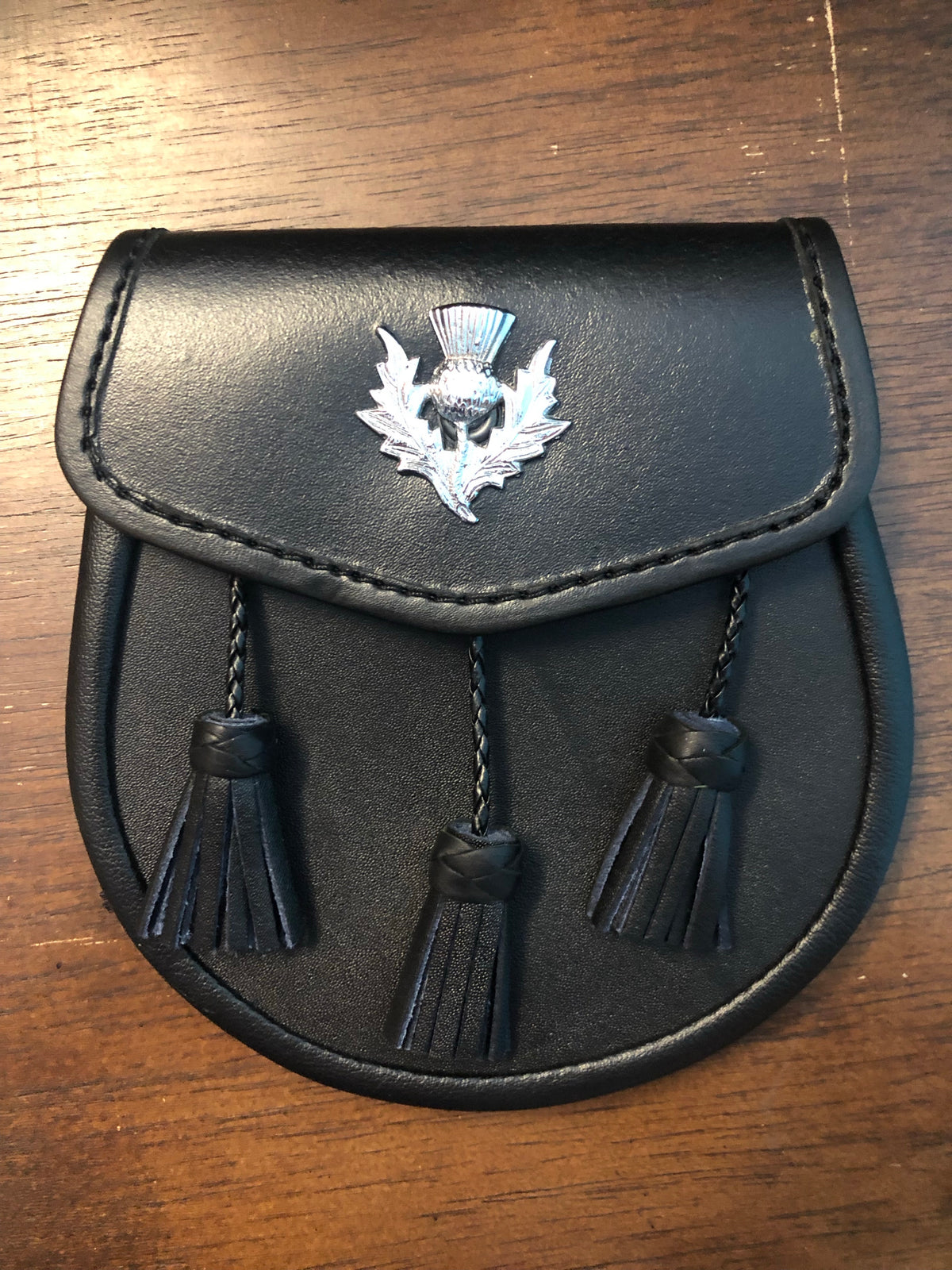 Black leather with Scottish Thistle