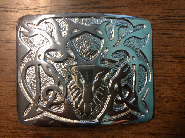 Scottish Celtic Stag Chrome  buckle