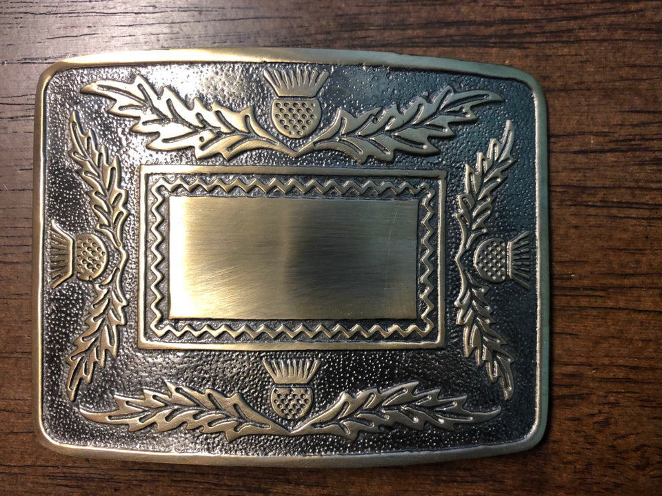 Brass Antiqued Scottish Thistle buckle