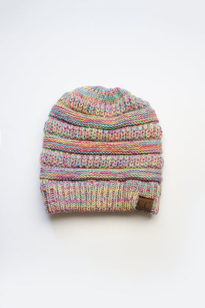 c.c knitted pony-tail beanie multi-color