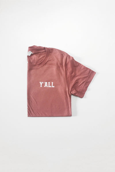 mauve pink y'all tee