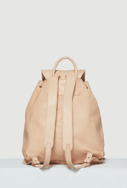 Backside of beige leather backpack