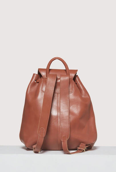 Backside of brown leather backpack