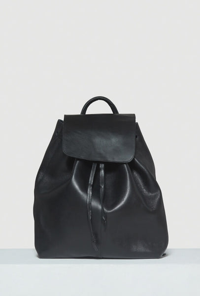Women's black all leather backpack